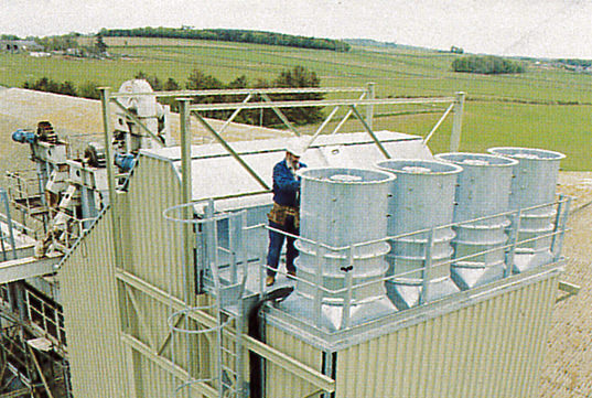 Edwards engineer installing grain drying equipment